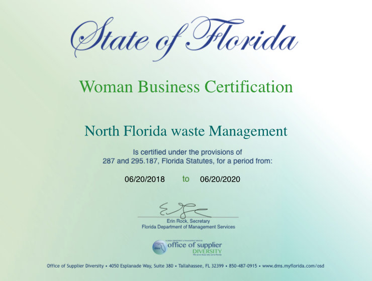 State of Florida - Woman Owned Business Certificate