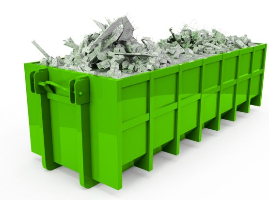 Image of a green dumpster rental in Jacksonville FL